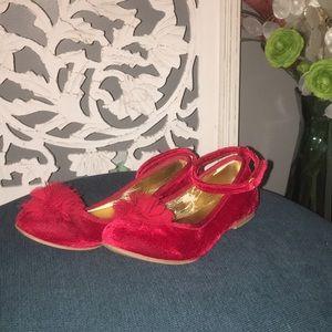 Girls Red Velvet Shoes